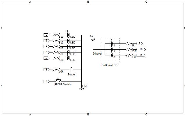Arduinoで作る反応速度測定器の回路図